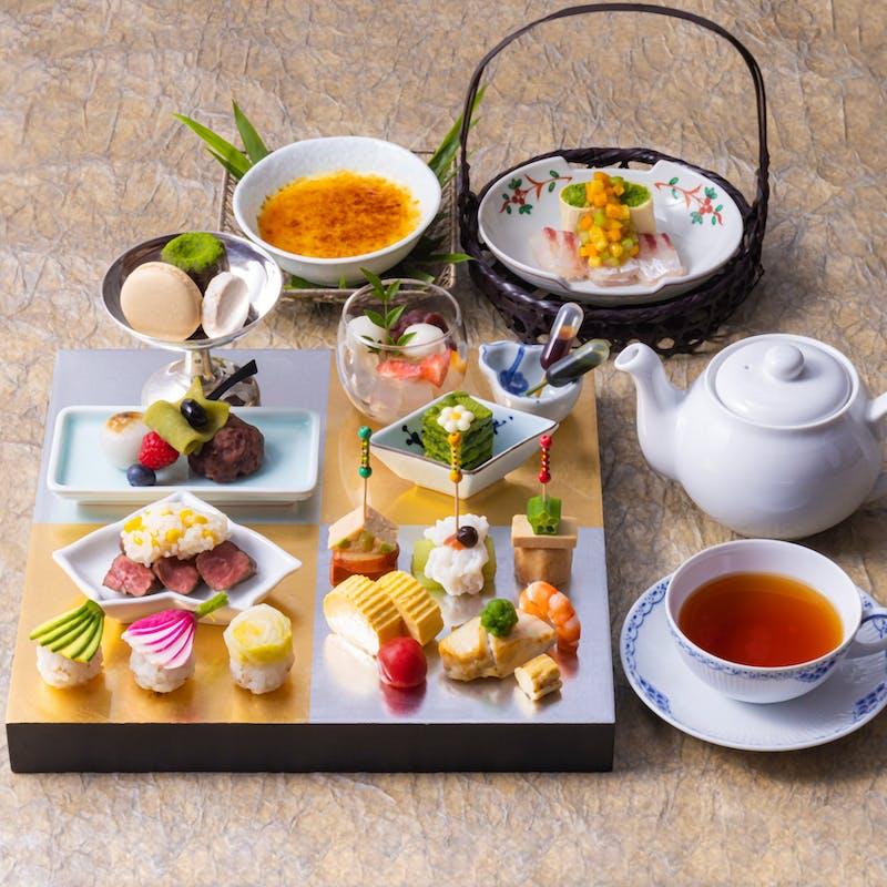和風アフタヌーンティー「和香」紅茶約10種おかわり自由(2時間滞在可能)
