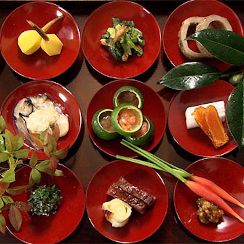 【柚子雑炊膳】朱盃十五点膳と柚子柚子雑炊 全4品