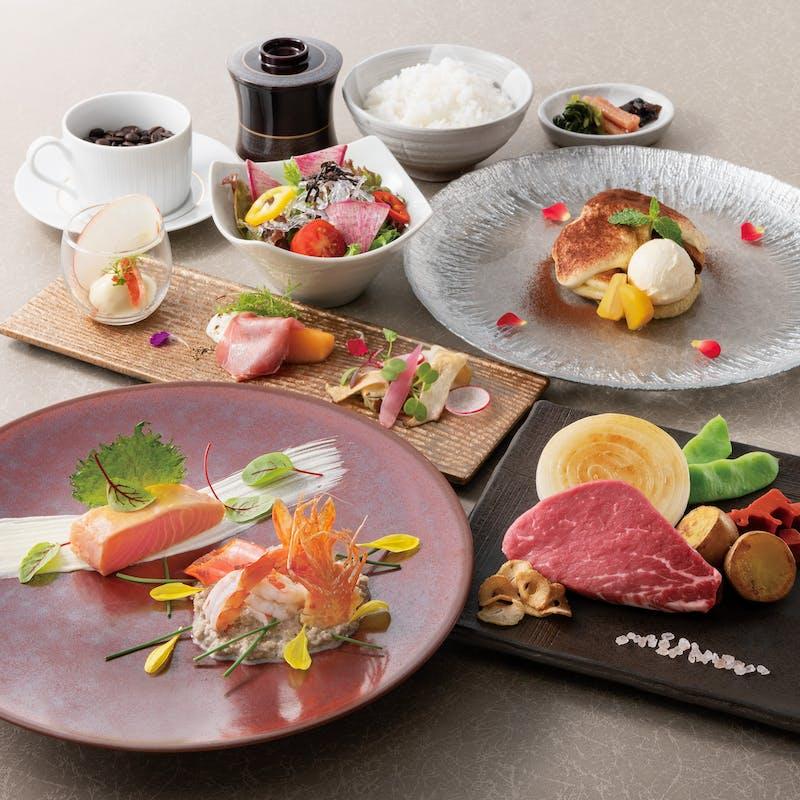 【撫子】牛ステーキと魚料理等+鉄板仕上げのデザート&食後のコーヒー