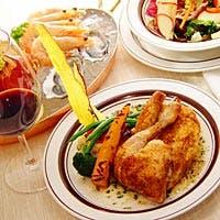 自慢の「ロティサリーチキン」を始め、シンプルかつ力強いお料理の数々