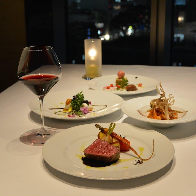 【ペアディナーコース】仙台牛モモ肉のグリルなど全5品+乾杯スパークリング