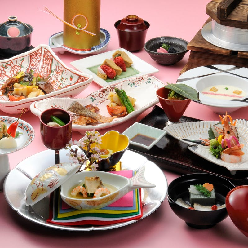【花~はな~】旬菜盛り合せ、吸物、造り、煮物、合肴、焼物等(窓側確約/会食やご接待に)