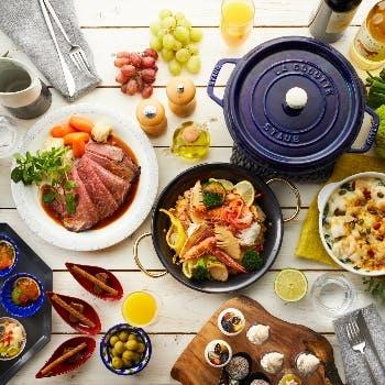 【大皿料理ディナー×飲み放題付】コース仕立ての大皿料理!Wメインに月替わりメニューなどを堪能!