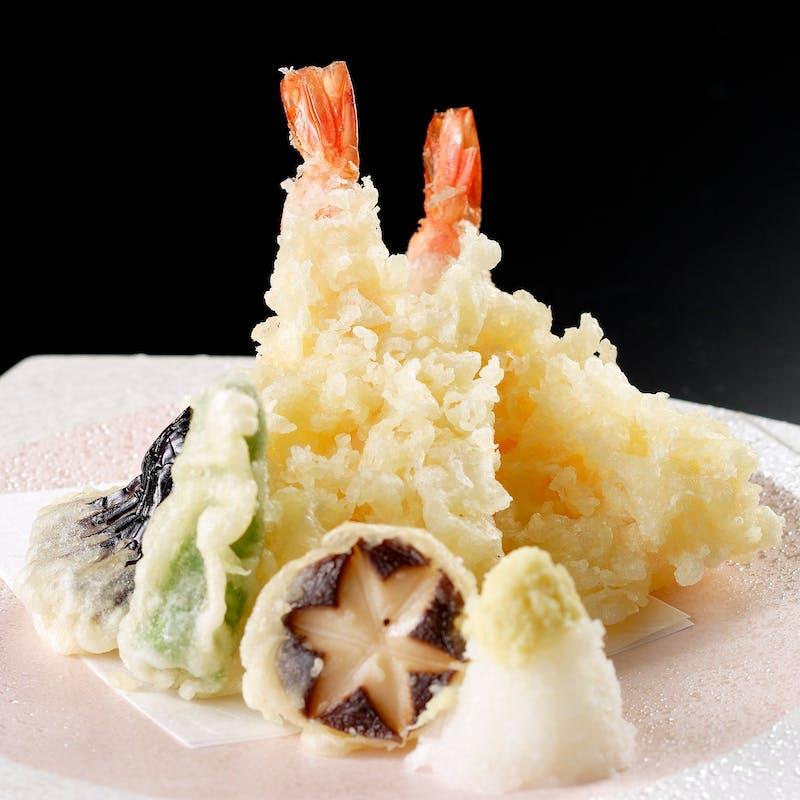 【天ぷら御膳】天ぷら盛合わせや煮物など全5品+乾杯グラススパークリング(ホール席)