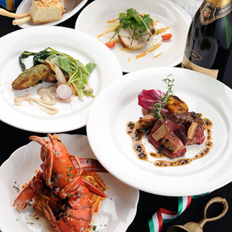 【シェフおまかせBコース】前菜、パスタ、お魚・お肉料理など全6品+1ドリンク