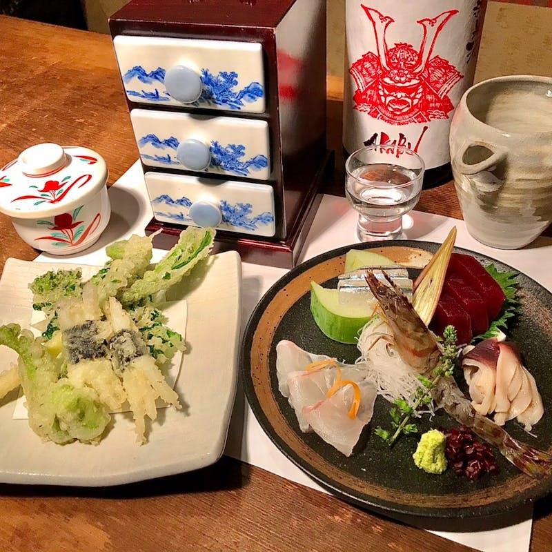 春季限定!刺身五点盛り・山菜と旬魚の天ぷらを楽しむお得な【山海コース】全7品+2時間飲み放題