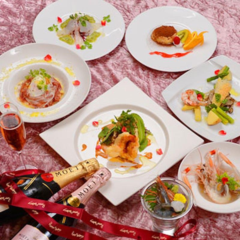 【海老三昧コース】天使海老の前菜、メインのオマール海老など全7品+乾杯スパークリングワイン