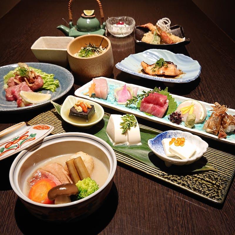 【雅】料理長厳選の国産食材をアレンジした和食会席全9品+プラチナ飲み放題2.5時間(個室確約)