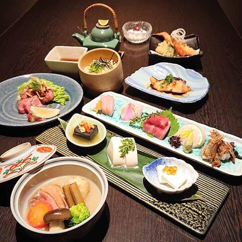 【雅】料理長厳選の国産食材をアレンジした和食会席全9品+2.5時間飲み放題(個室確約 x 接待・会食に)