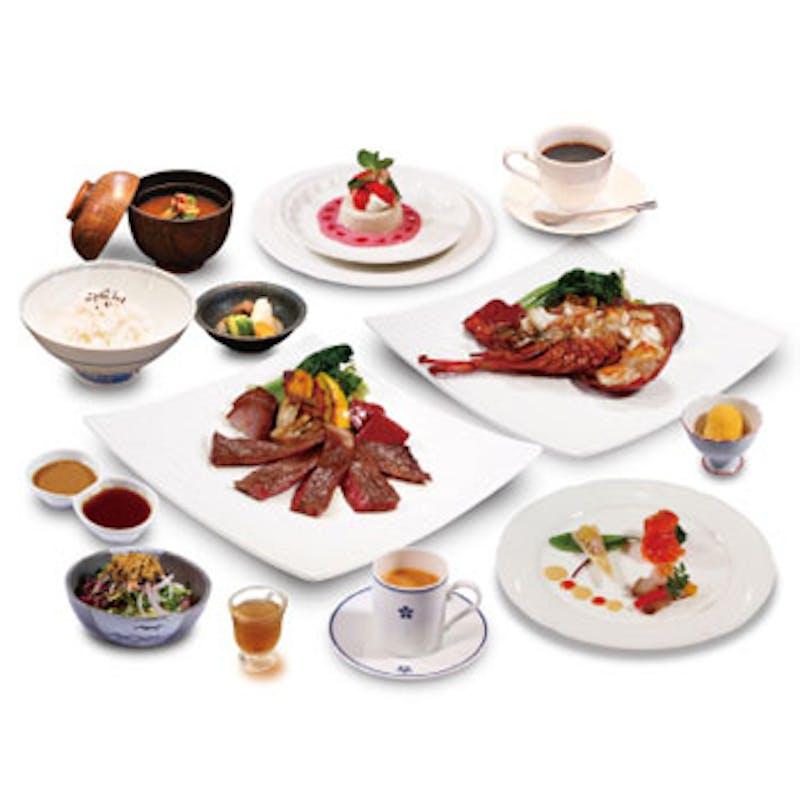 【蘭コース】伊勢海老と国産牛ロース肉を両方鉄板焼など