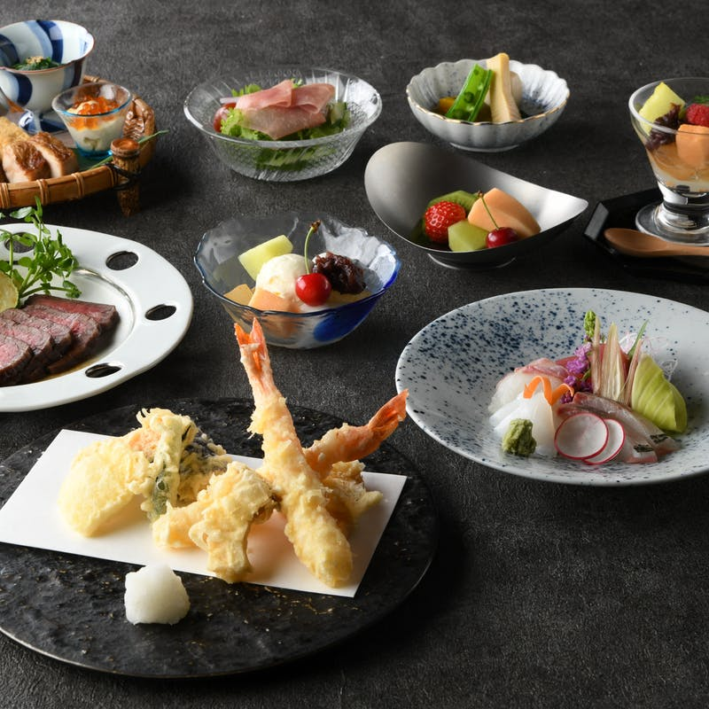 【GOZENランチ】国産牛・天ぷら・刺身・季節の一品から選べるメイン <10月>