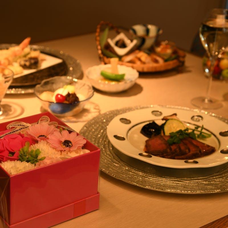 【記念日】風雅Presentディナー (1ドリンク・フラワーソープ・デザートプレート&記念写真付)