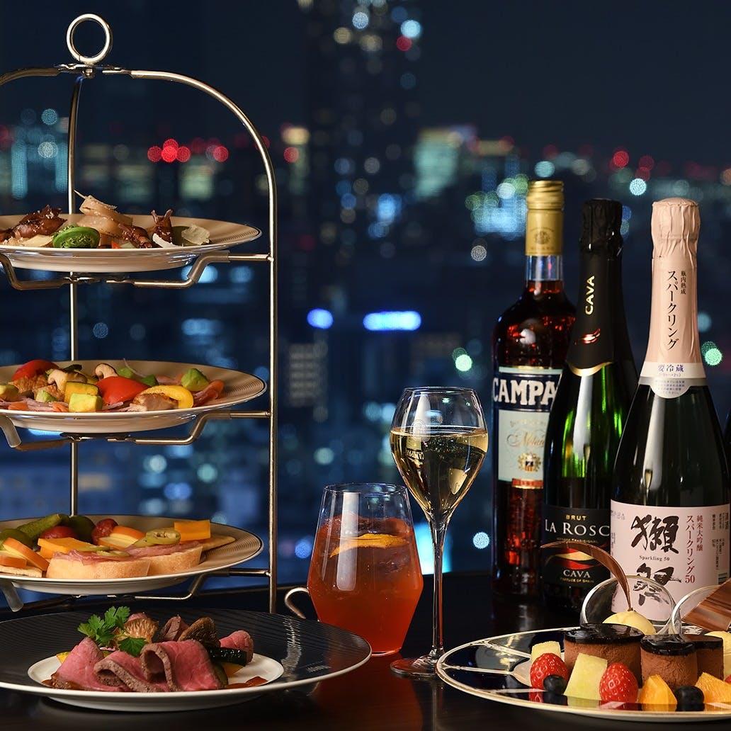 夜に楽しむ3段スタイルのハイティープランをご用意しております。