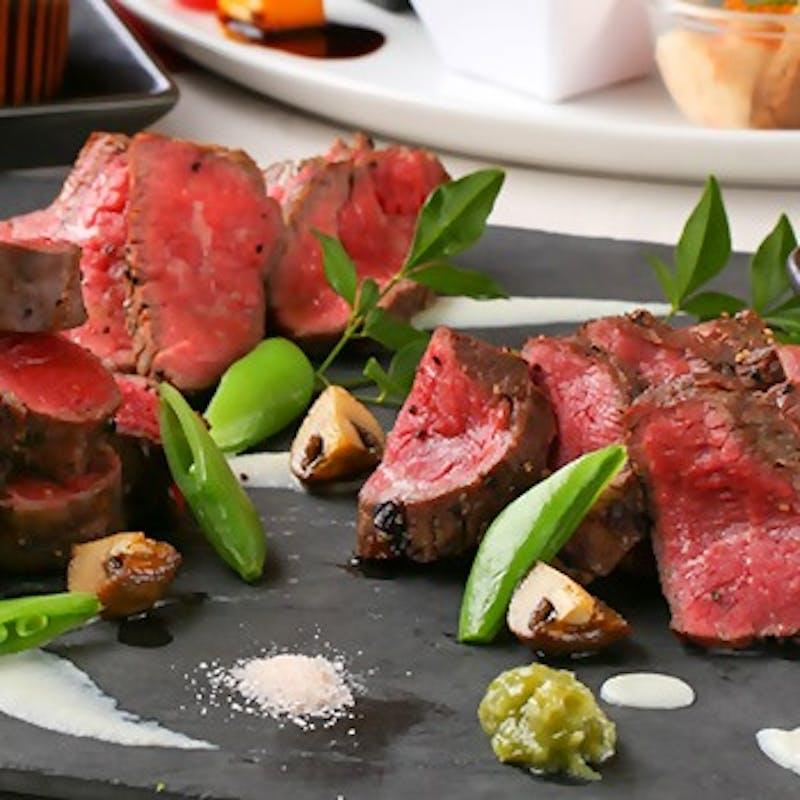 【水響亭】 前菜盛合せ、魚料理、国産牛フィレ、パスタなど全7品+2時間飲み放題