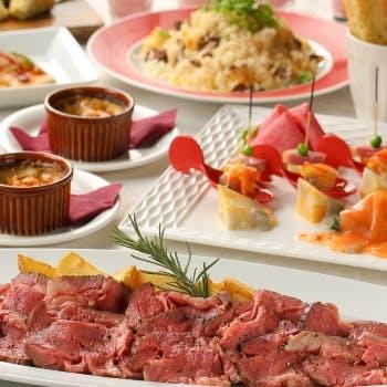 【春×宴会】有馬山椒香るローストビーフ、桜海老とペンネの一皿など全8品+乾杯スパークリング&飲み放題