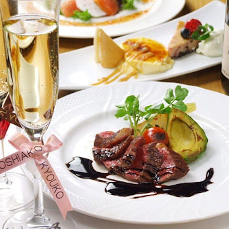 【レガーロ/記念日・誕生日】乾杯ワイン&メッセージ入りケーキ付!魚・牛のメインなど全6品