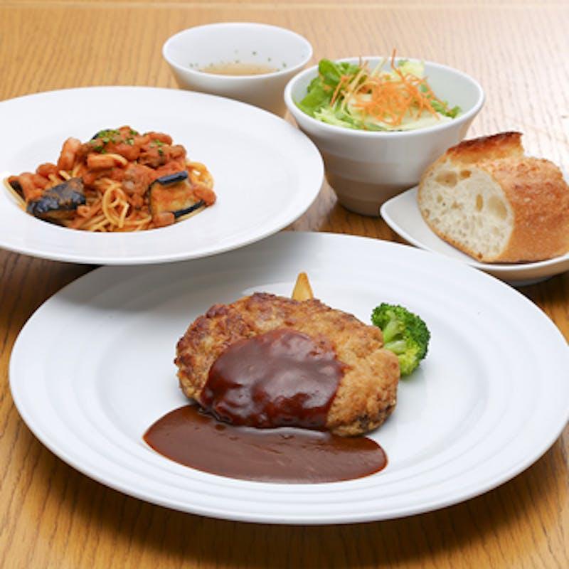 【Pasta & Grill Set】選べるパスタ&メイン、スープなど+デザート+食後カフェ(月~金)