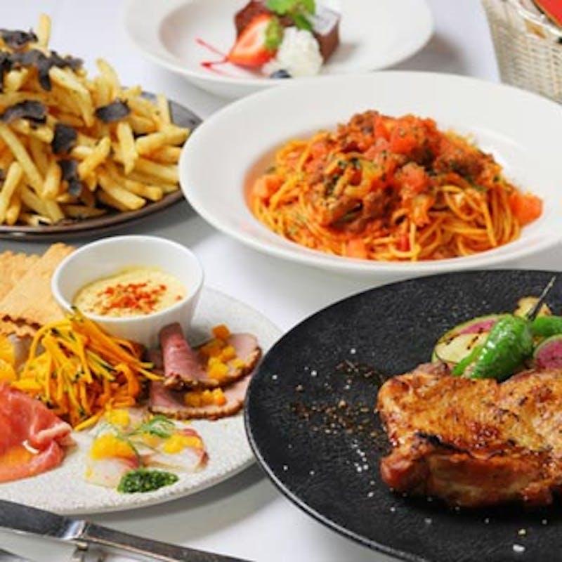 【スタンダードコース】前菜6種、パスタ、若鶏のグリルなど全5品+1ドリンク