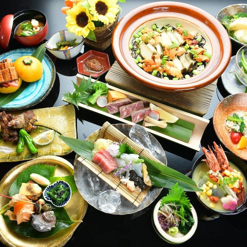 【料理長おまかせ会席】松茸・神戸牛・虎河豚など全10品+乾杯シャンパンor利き酒セット