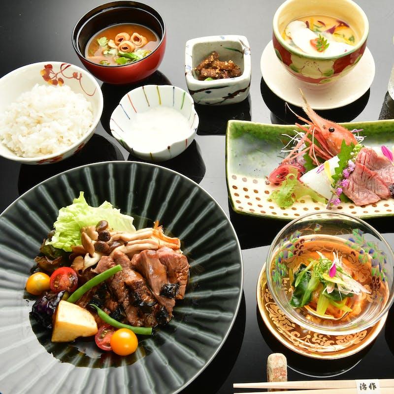 【和風牛焼膳】濃厚で上品な和牛の旨味をご堪能ください+ワンドリンク