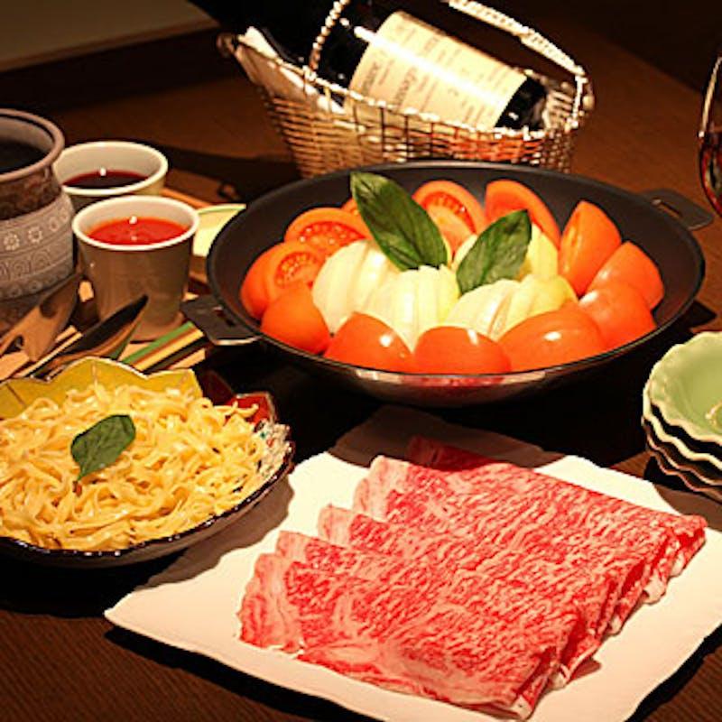 【トマトすきやき】季節野菜のサラダなど 全5品+1ドリンク(土日・お肉がA5和牛サーロイン)