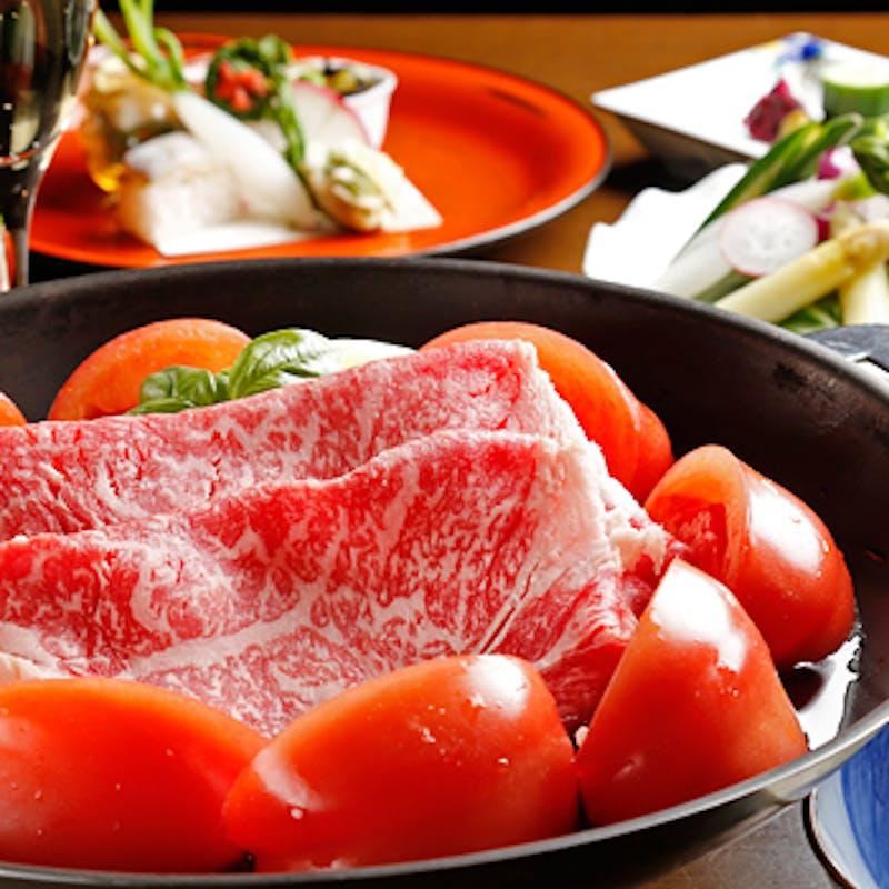 【トマトすきやき】季節野菜のサラダなど 全5品+1ドリンク(平日限定)