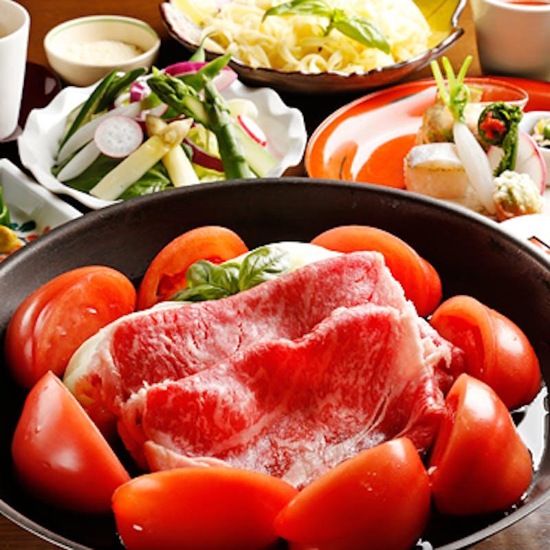 【トマトすきやき懐石】お椀やお造りなど 全7品+1ドリンク