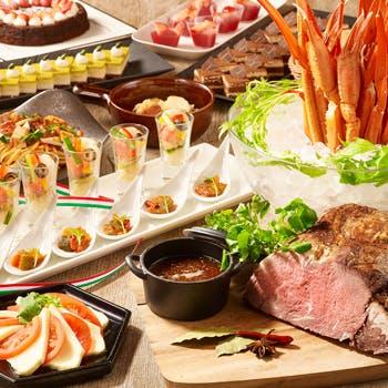 【平日限定特別価格!】ローストビーフや蟹などのシーフード、パスタも楽しめる人気の和洋中ブッフェ!