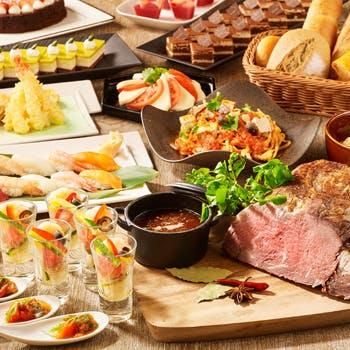 【平日限定!乾杯スパークリングワイン付!】焼きしゃぶや天ぷら、握り寿司など70種食べ放題!