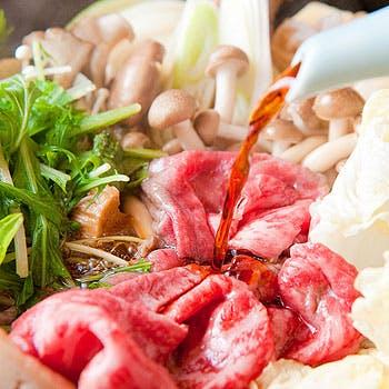 【黒毛和牛A5霜降りロース肉(120g)すき焼きコース】+飲み放題付