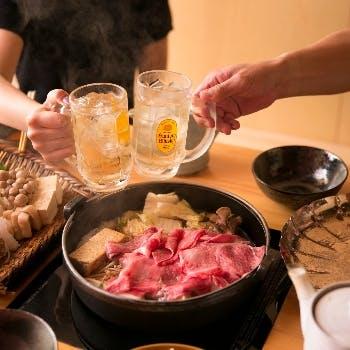 【黒毛和牛A5霜降りロース肉(220g)すき焼きコース】+飲み放題付