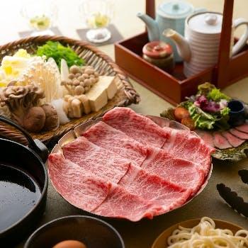 【黒毛和牛A5霜降りモモ肉(100g)すき焼きコース】