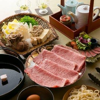 【黒毛和牛A5霜降りロース肉(120g)すき焼きコース】