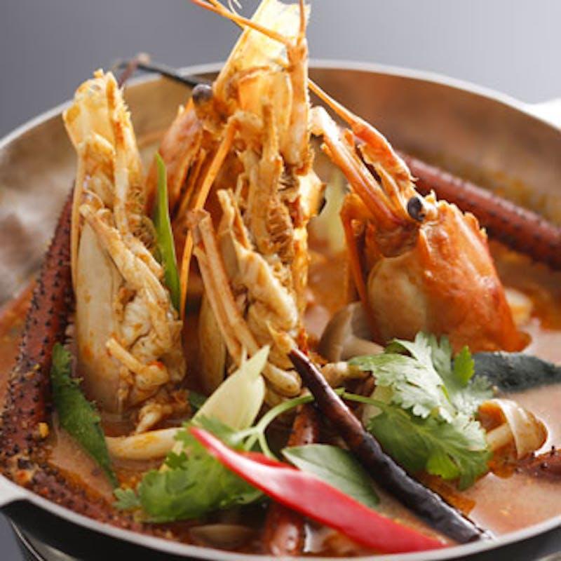 【ランカスカ コース】特製手長海老のトムヤム、蟹カレー炒めなど全8品+90分飲み放題