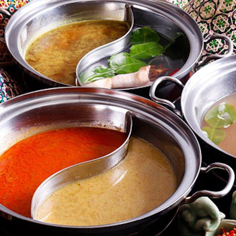 【タイスキ鍋コース】生春巻、トムヤムスープの米麺など全4品+90分飲み放題(当日空きがあれば個室可)