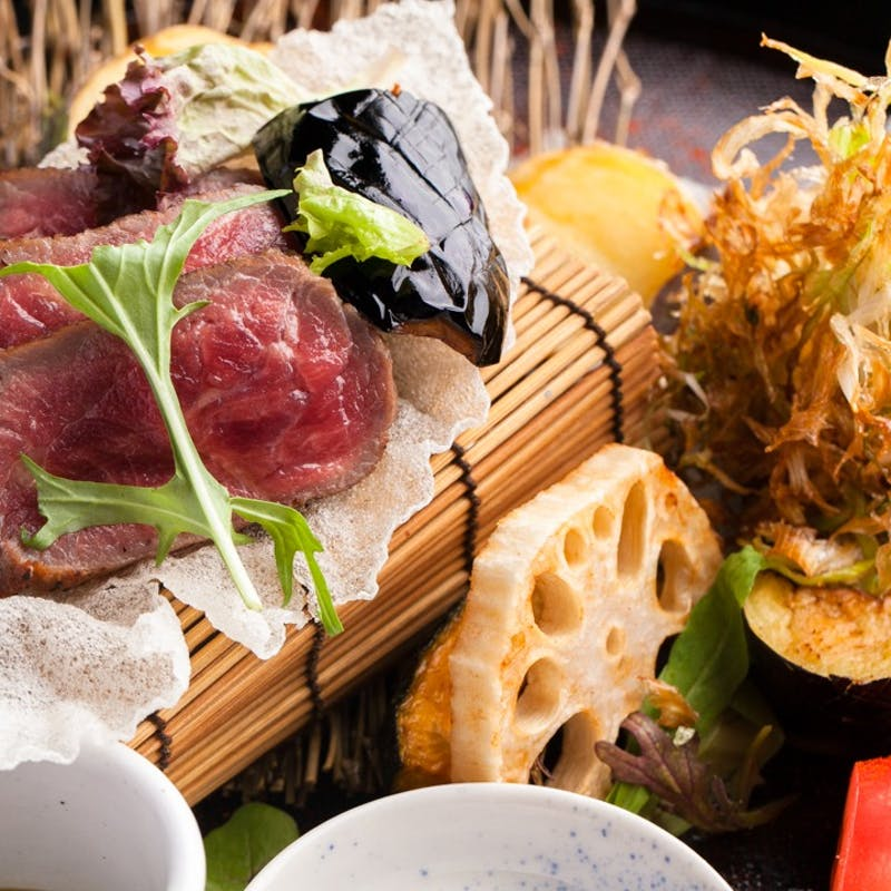 【2時間飲み放題プラン】牛ロース肉、天ぷら含む会席コース(10品・個別盛)