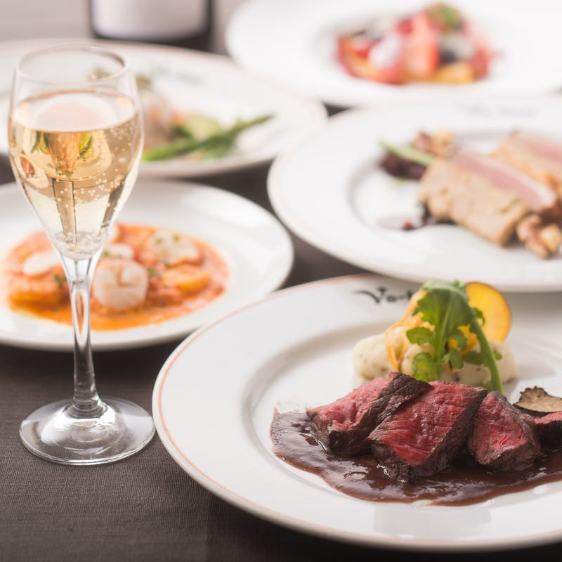 【おまかせコース】前菜2品、魚料理、肉料理など全5品+乾杯スパークリング