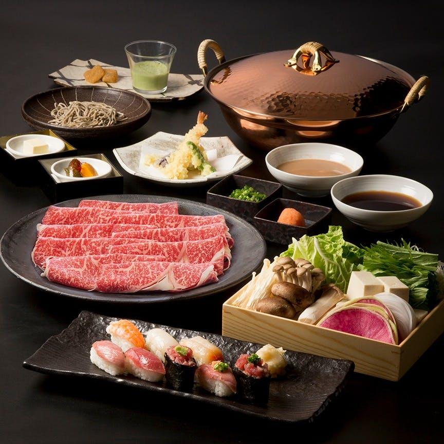 【旬の味覚宴会プラン】黒毛和牛しゃぶしゃぶ・寿司・海老・串揚げの食べ放題をご用意