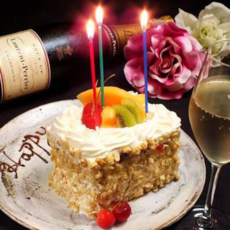 【記念日コース】ホールケーキ付 A5黒毛和牛フィレorサーロイン、オマール海老など全8品