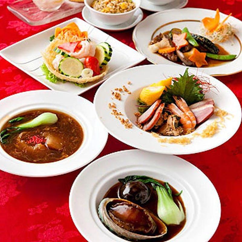 ふかひれorあわび、北京ダック、ツバメの巣のスープ等+選べるメイン全10品+選べるメイン(個室確約)