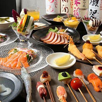 【贅沢】トリュフ、フォアグラ、キャビアなど贅沢食材含む創作串揚げ15本など+ホールケーキ(記念日)
