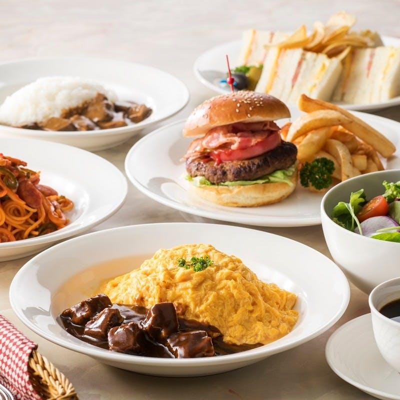 【ランチセット FAVORITE】選べるオムライスやナポリタンなど サラダ&コーヒーまたは紅茶付