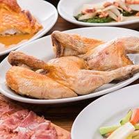 ロティサリーチキンとイタリア田舎料理、手打ちパスタが秀逸