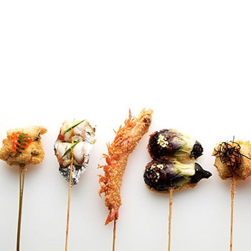 【当日予約OK】天使の海老など旬の串揚12本、だし茶漬け全6品のディナーコース