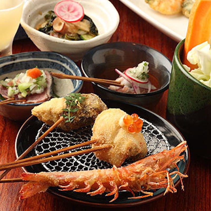 【大人のゆったりランチ】串揚げ10本と選べるお食事。季節の小鉢など+乾杯スパークリング