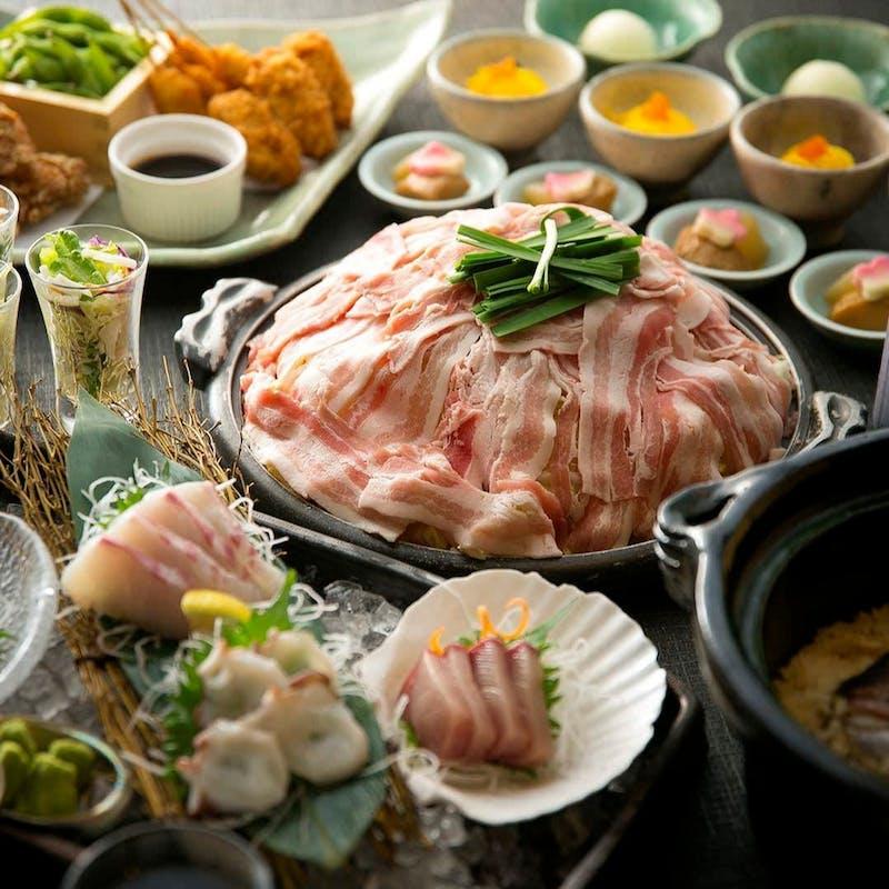 【鯛めしコース】2時間飲み放題付 お造り3種、豚肉の陶板焼き、名物 鯛めしなど全5品