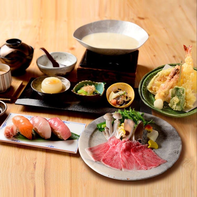 【近江牛の吹寄せ豆乳鍋御膳】天婦羅、握り寿司、小鉢3種など全6品