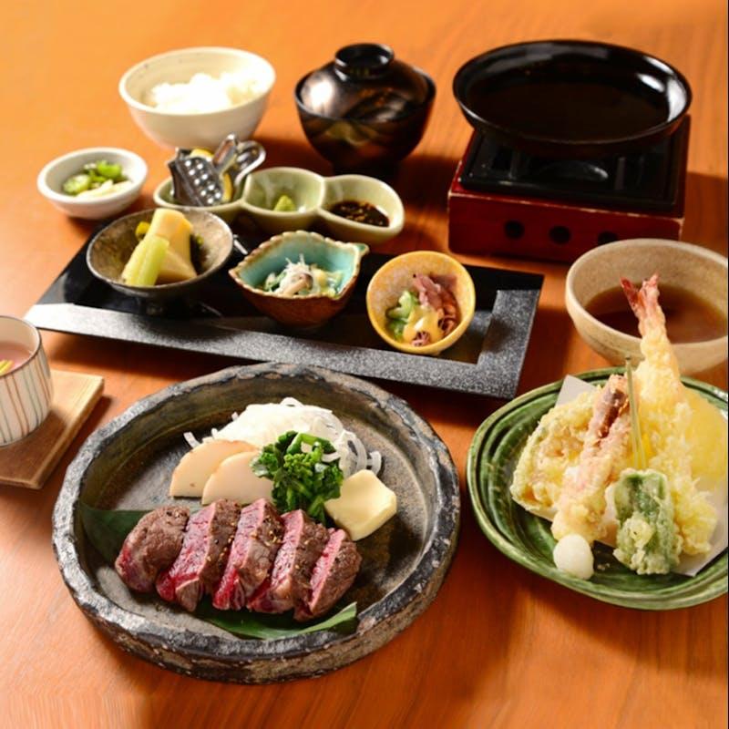 【牛フィレ肉の鉄板焼き 天麩羅御膳】季節の天麩羅盛合せ、小鉢三種など全5品+上握り寿司3貫