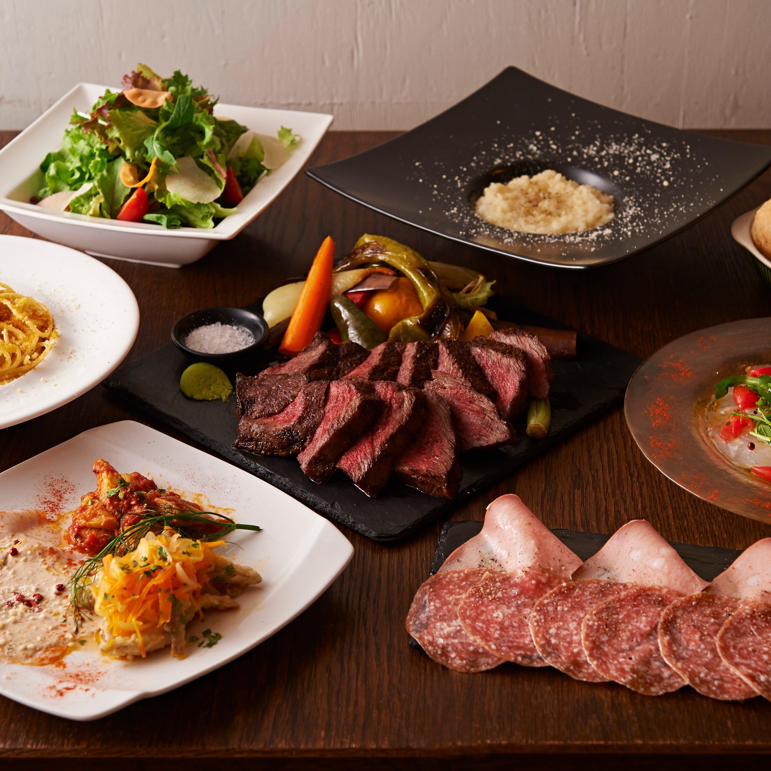 日本全国の旬の食材ををイタリアの技法でお召し上がりください