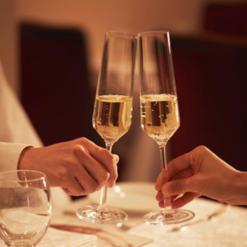 【Menu C】前菜やお肉とお魚が選べるメインなど 全7品+乾杯シャンパン+1ドリンク(半個室確約)